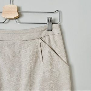 {Love 21} Embroidered Beige Cotton Pencil Skirt